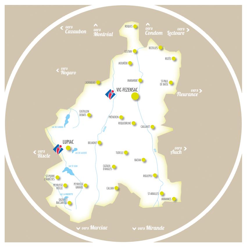 Carte du territoire d'artagnan en fezensac